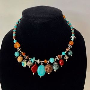 Chico's Turquoise and Multi Stone Choker Necklace